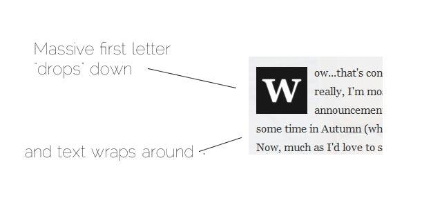 drop caps in wordpress thesis