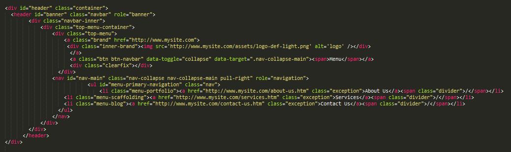 Hardcoded menu in header file