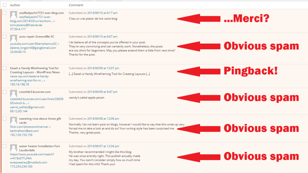 WordPress comment moderation example