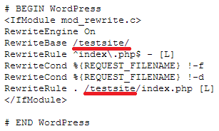 WordPress htaccess error