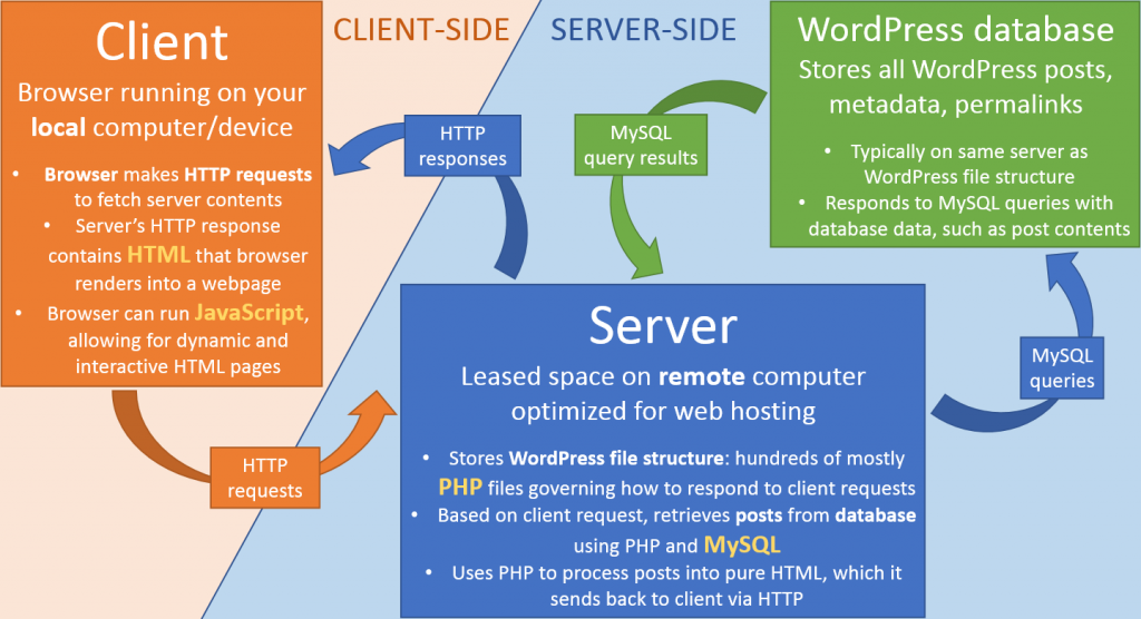 Client-side and server-side processes in WordPress