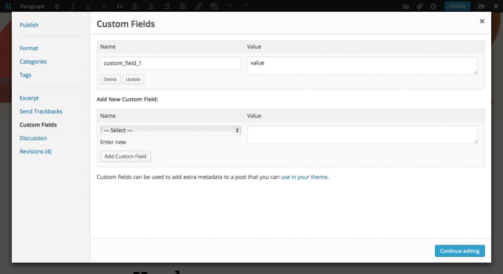 front-end editor custom fields