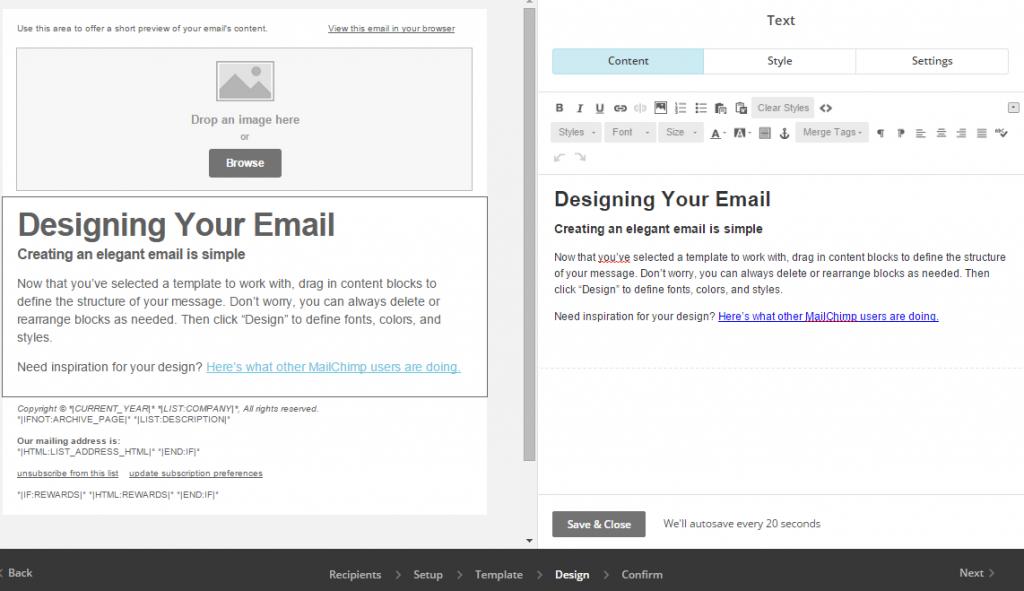 MailChimp split editing interface