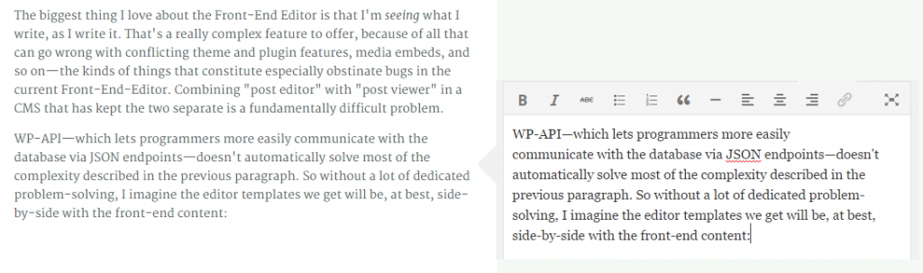 WordPress Front-End Editor Not Inline