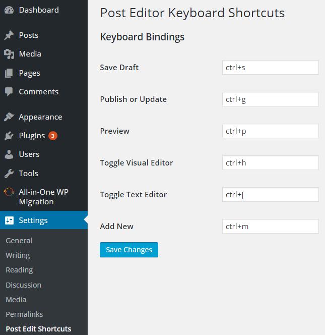 WordPress post editor keyboard shortcuts
