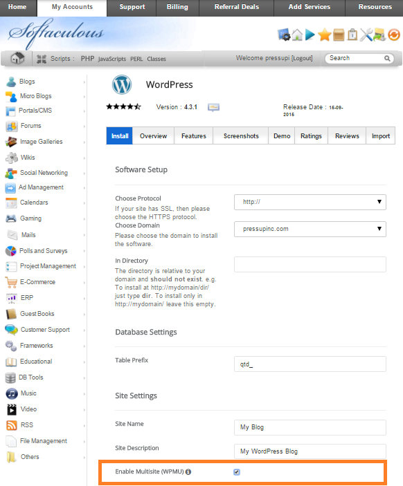 Enable WordPress Multisite Softaculous