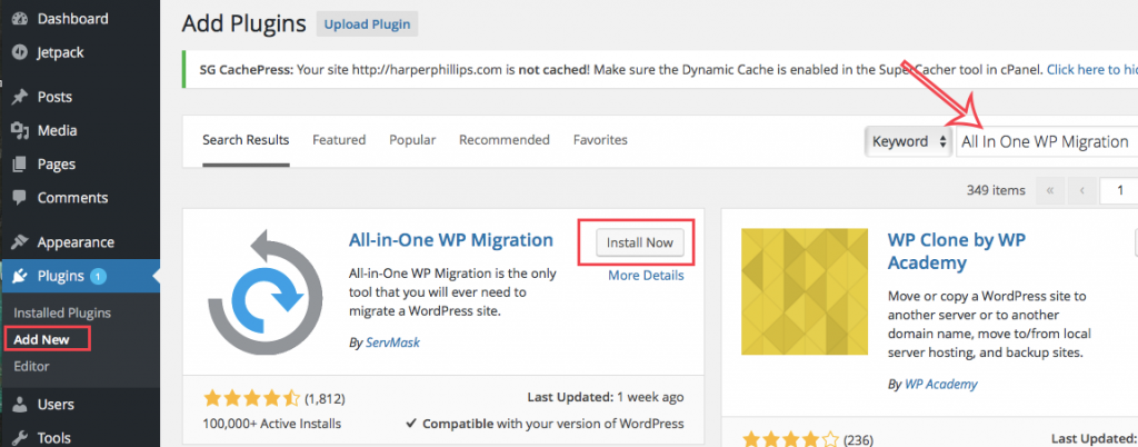 All in one wp migration install