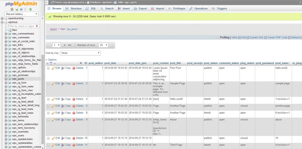 phpmy admin view wordpress