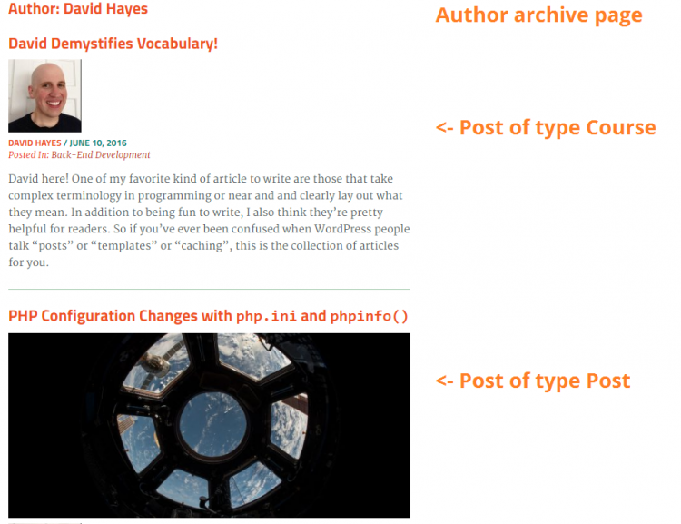 Archive page with mixed post types