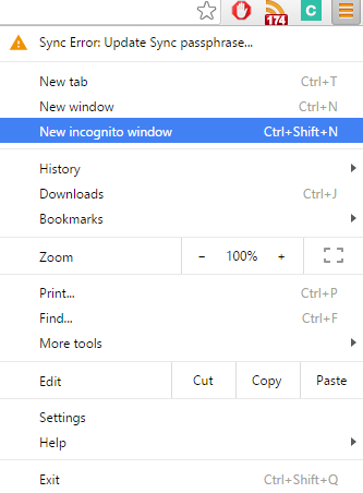 how to create incognito tab