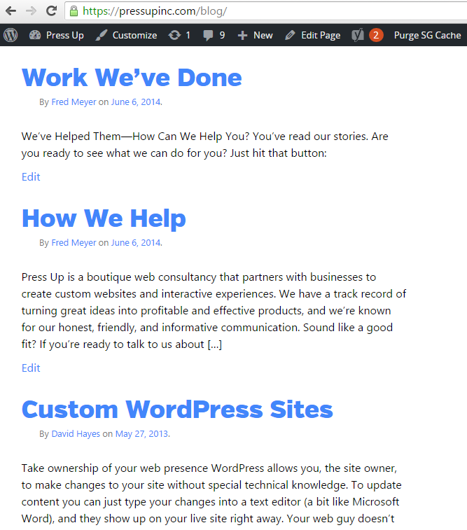 pre_get_posts: blog index pages post type