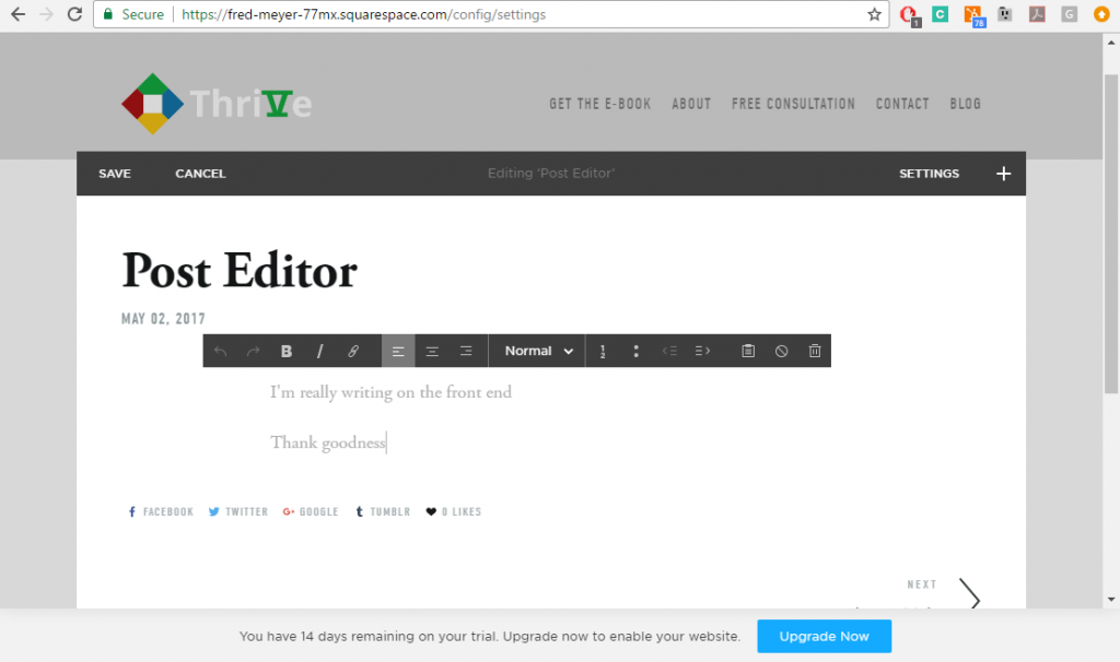 Squarespace front-end editor. Click to enlarge.