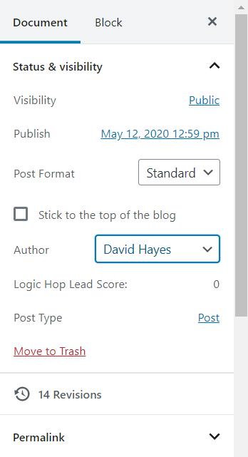 where to change wordpress post author using gutenberg