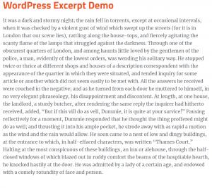 wordpress excerpt one-paragraph excerpt