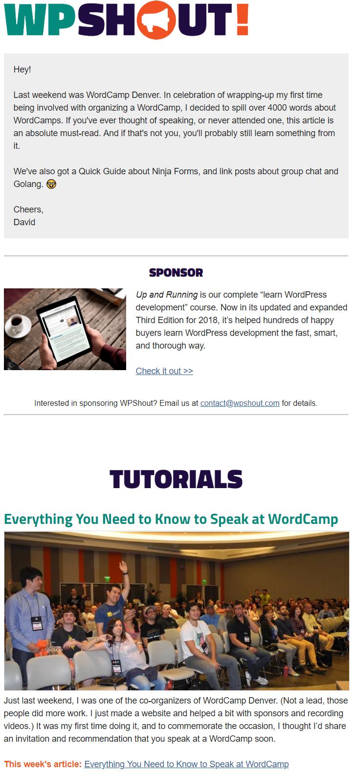 wpshout sponsorship newsletter spot