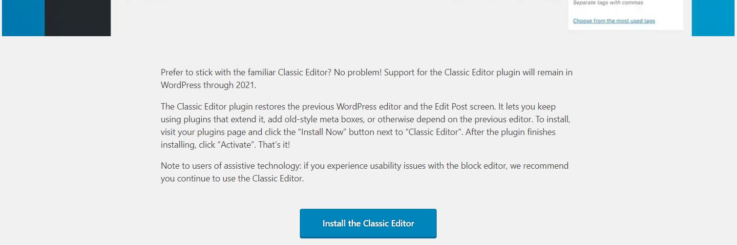 gutenberg opt-out classic editor install wordpress 5.0