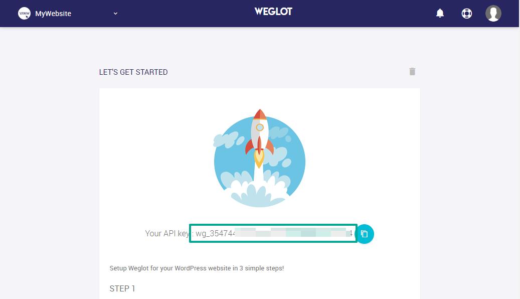 Weglot API key