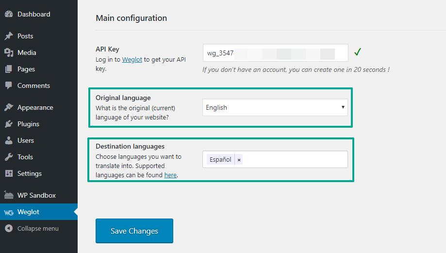 Configure languages