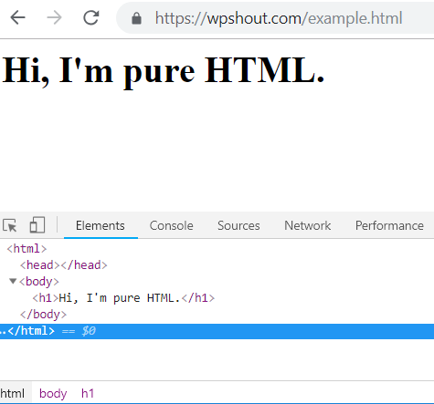HTML browser output example inspect element