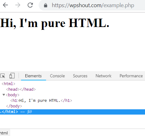 HTML in PHP file browser example
