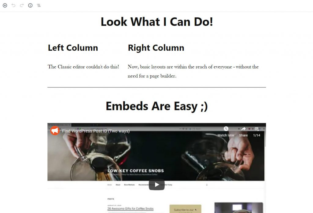 wordpress gutenberg two-column layout