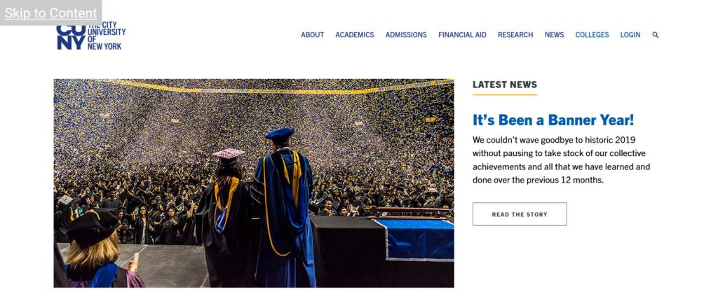 The City University of New York website skip link