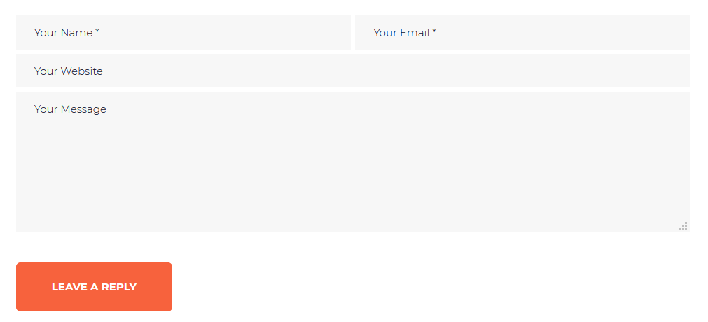 Comment form with placeholders but no labels