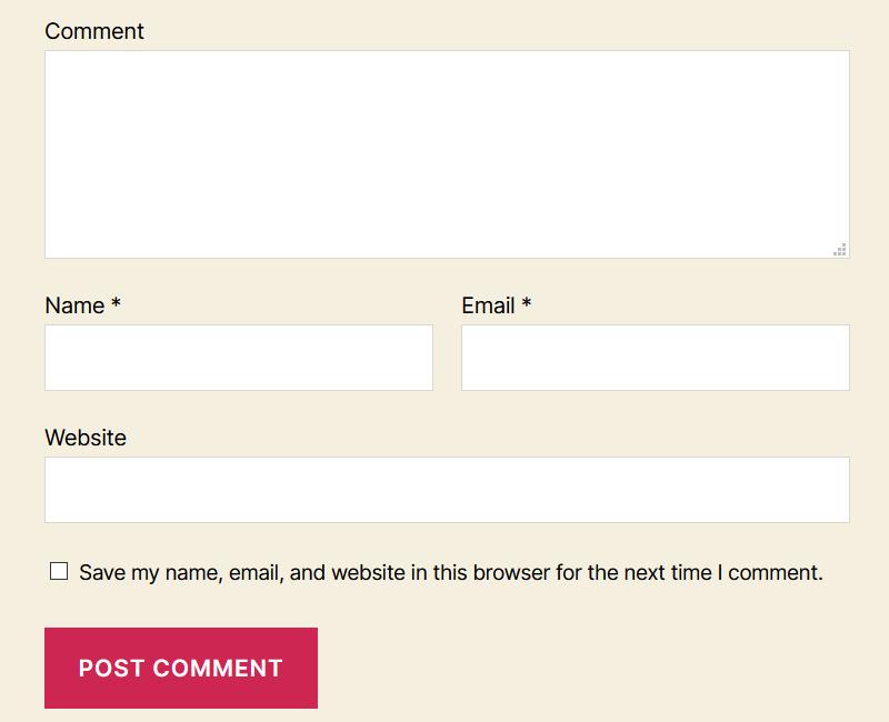 The Twenty Twenty comment form has form labels