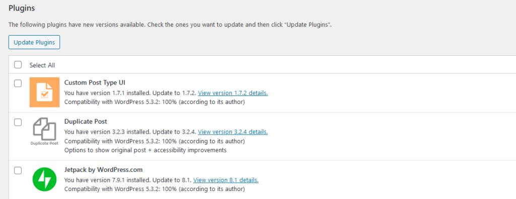 WordPress plugin update screen.