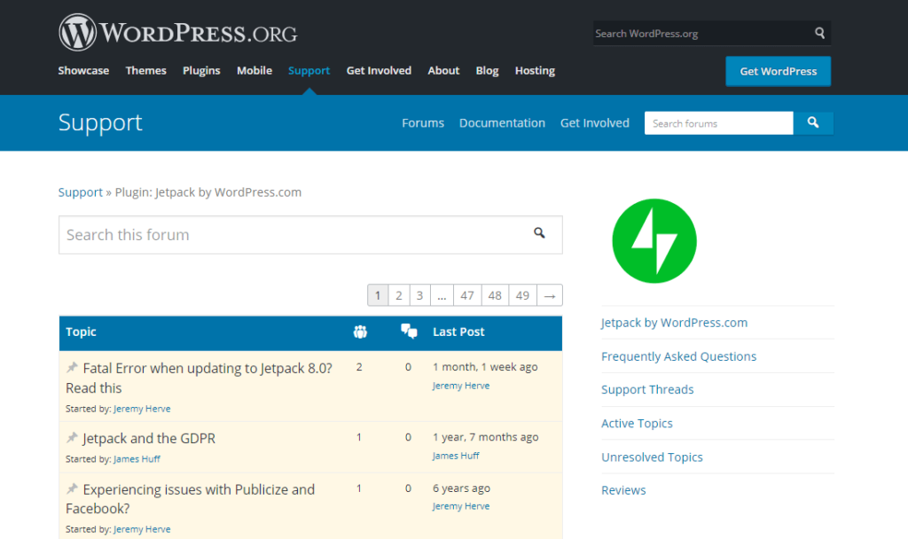 WordPress.org support forums.