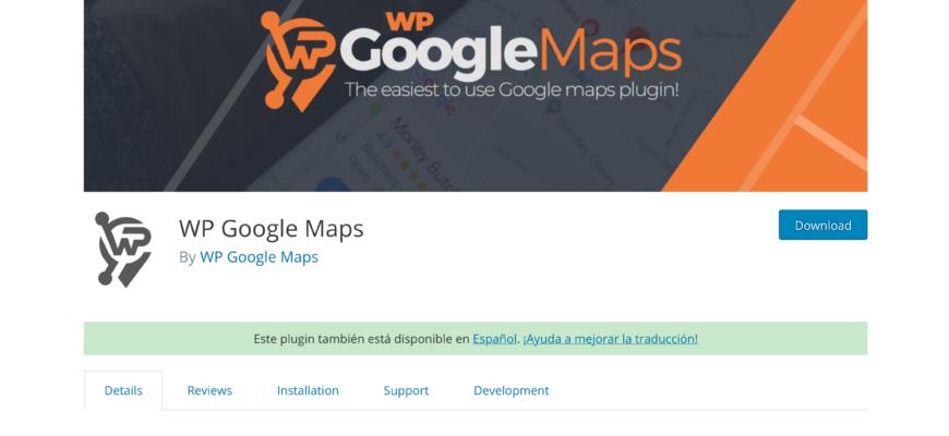 screenshot of WP Google Maps plugin page on WordPress.org