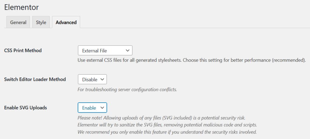 Enabling SVG uploads in Elementor