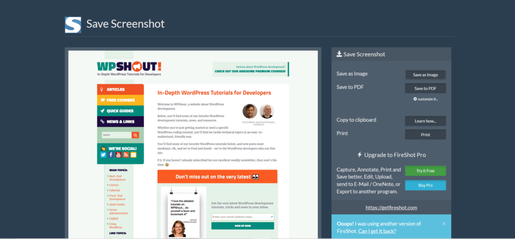 FireShot screen capture of WP Shout home page