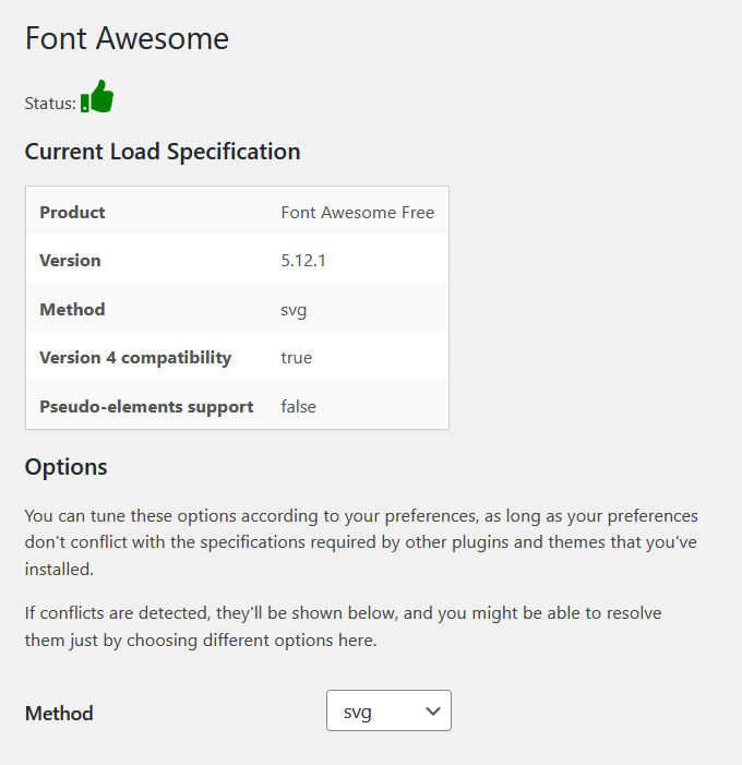 Selecting Font Awesome as SVG