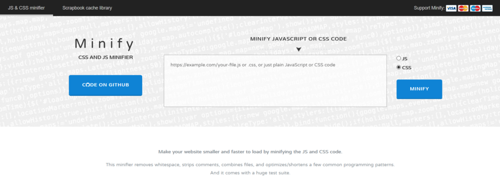 Minify CSS and JS minifier