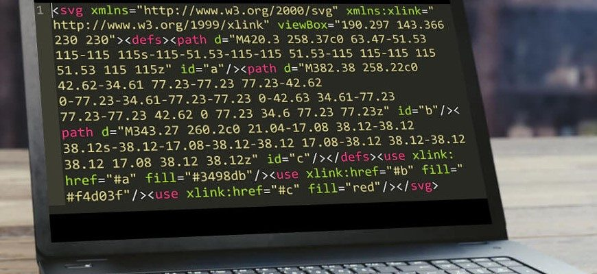 SVG code on laptop screen