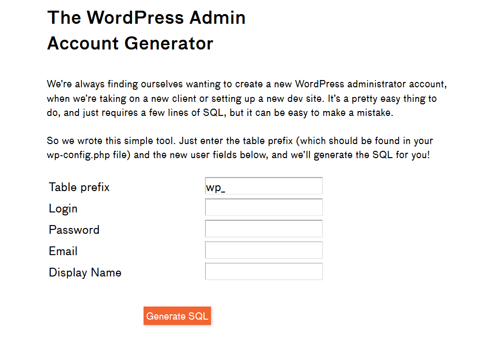 The WordPress Admin Account Generator