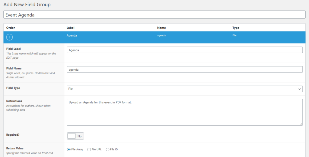 Custom field settings screen.