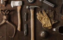 tools on a brown wooden table