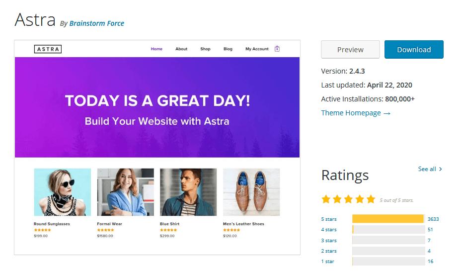 Astra theme on WordPress.org