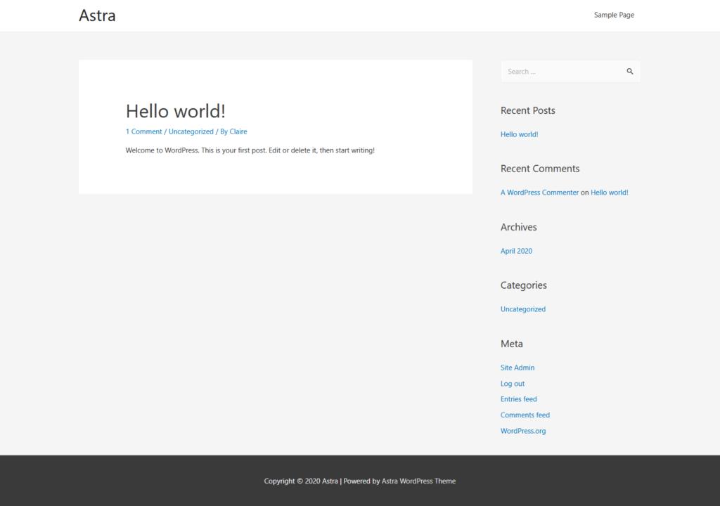 Astra theme on a vanilla install of WordPress