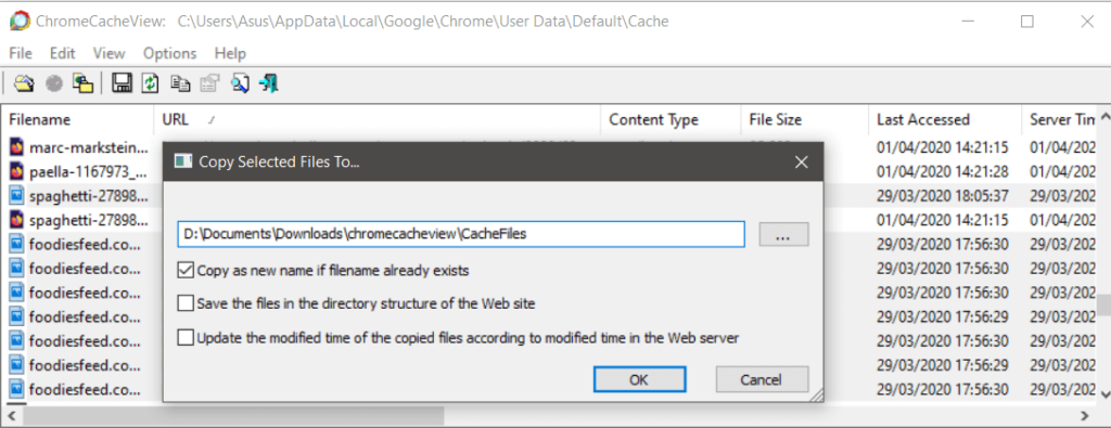 ChromeCacheView copying files from the cache to a folder of your choice