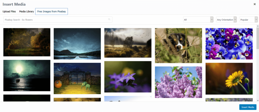 Free Images From Pixabay tab in the Media Library