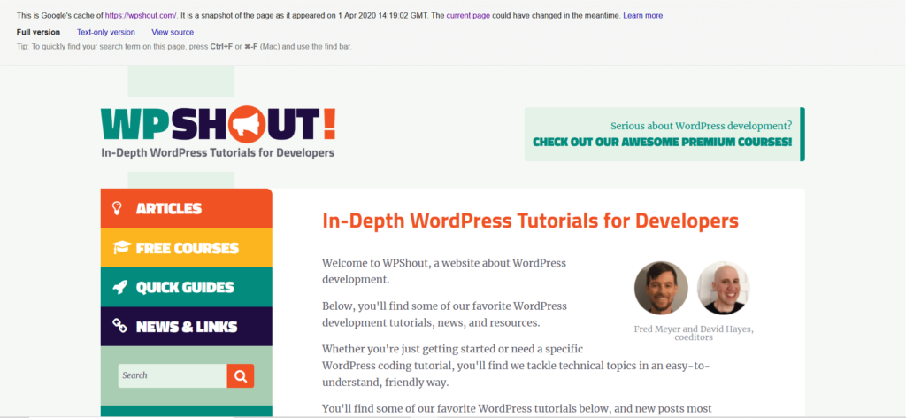 WP Shout site in Google's cache