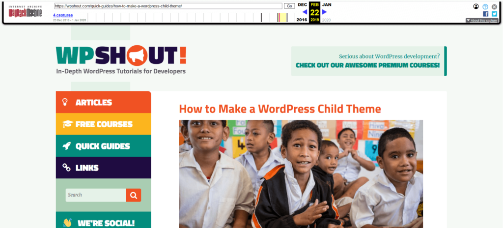 How to make a WordPress child theme post in the Internet Archive