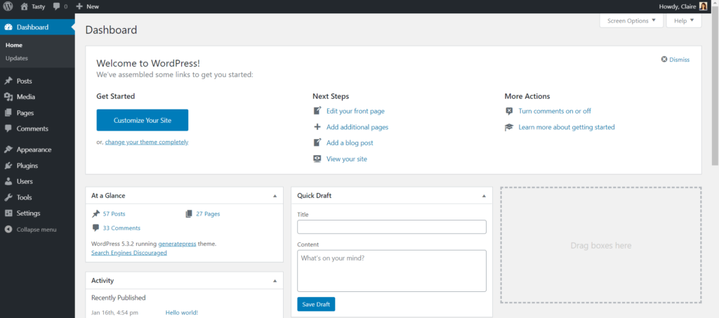 WordPress admin after reinstall