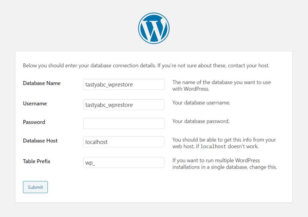 Adding database connection details to WordPress