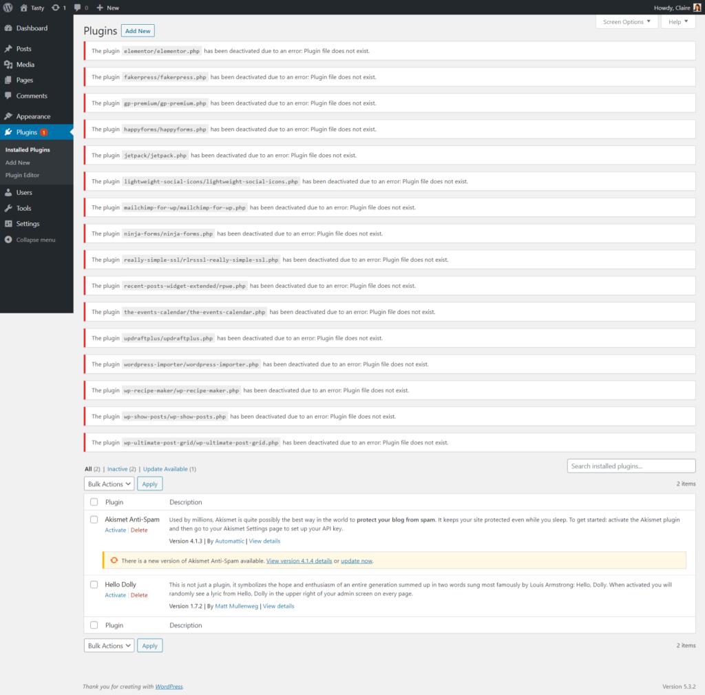 Missing WordPress plugins