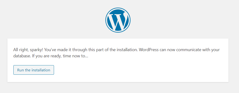 WordPress run the installation