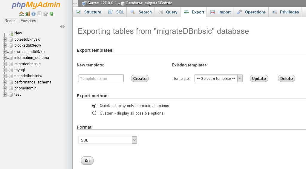 phpMyAdmin Export Screen